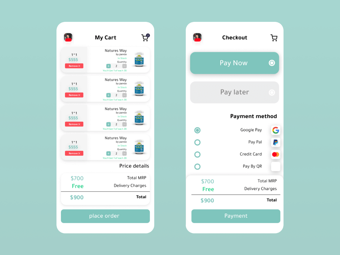 Pharmacy My Cart And Checkout Free Sketch Resource Free Ui Kits