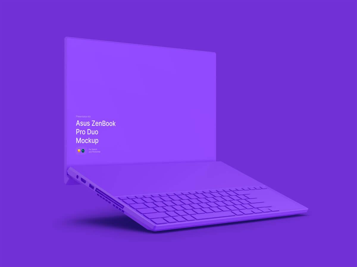 Asus ZenBook Pro Duo Clay Sketch Mockup