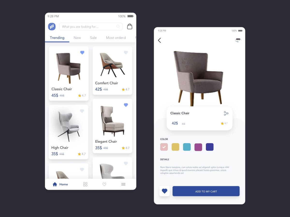 Chair Store App for Sketch