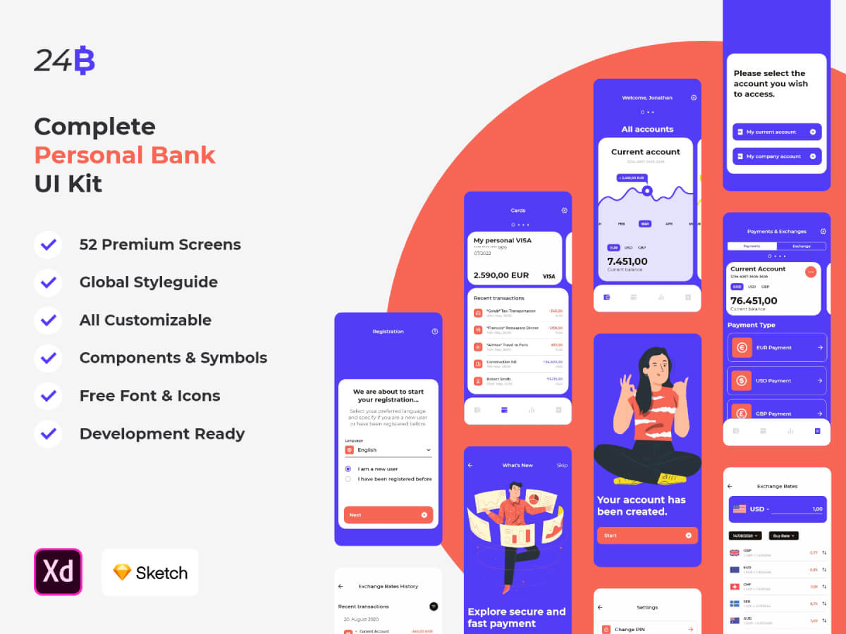 Complete Personal Bank Sketch UI Kit