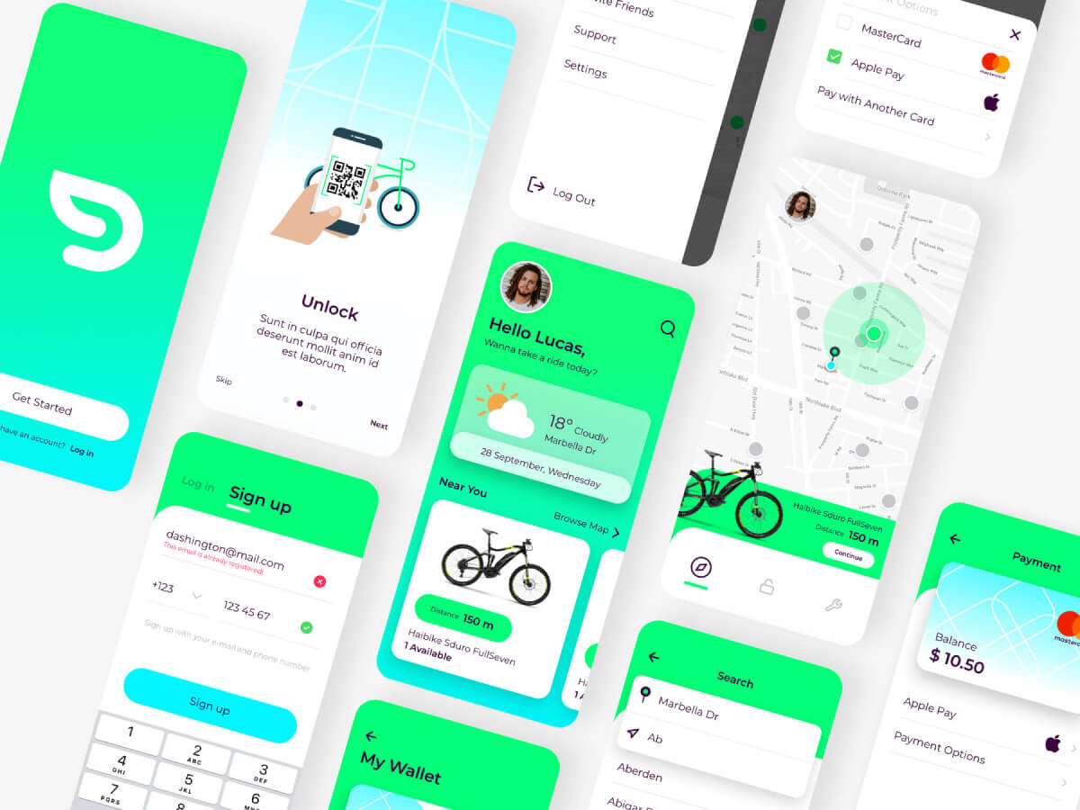 Dash Bike Sharing App for Sketch