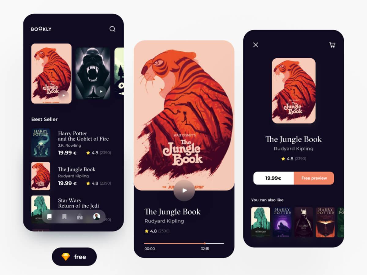 Ebooks App Sketch UI Kit