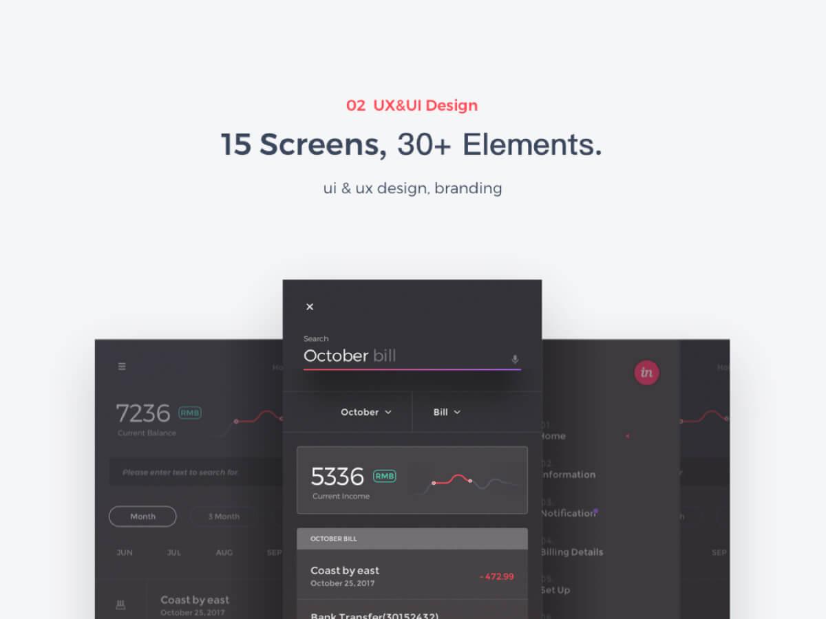 Financial App UI Sketch Kit