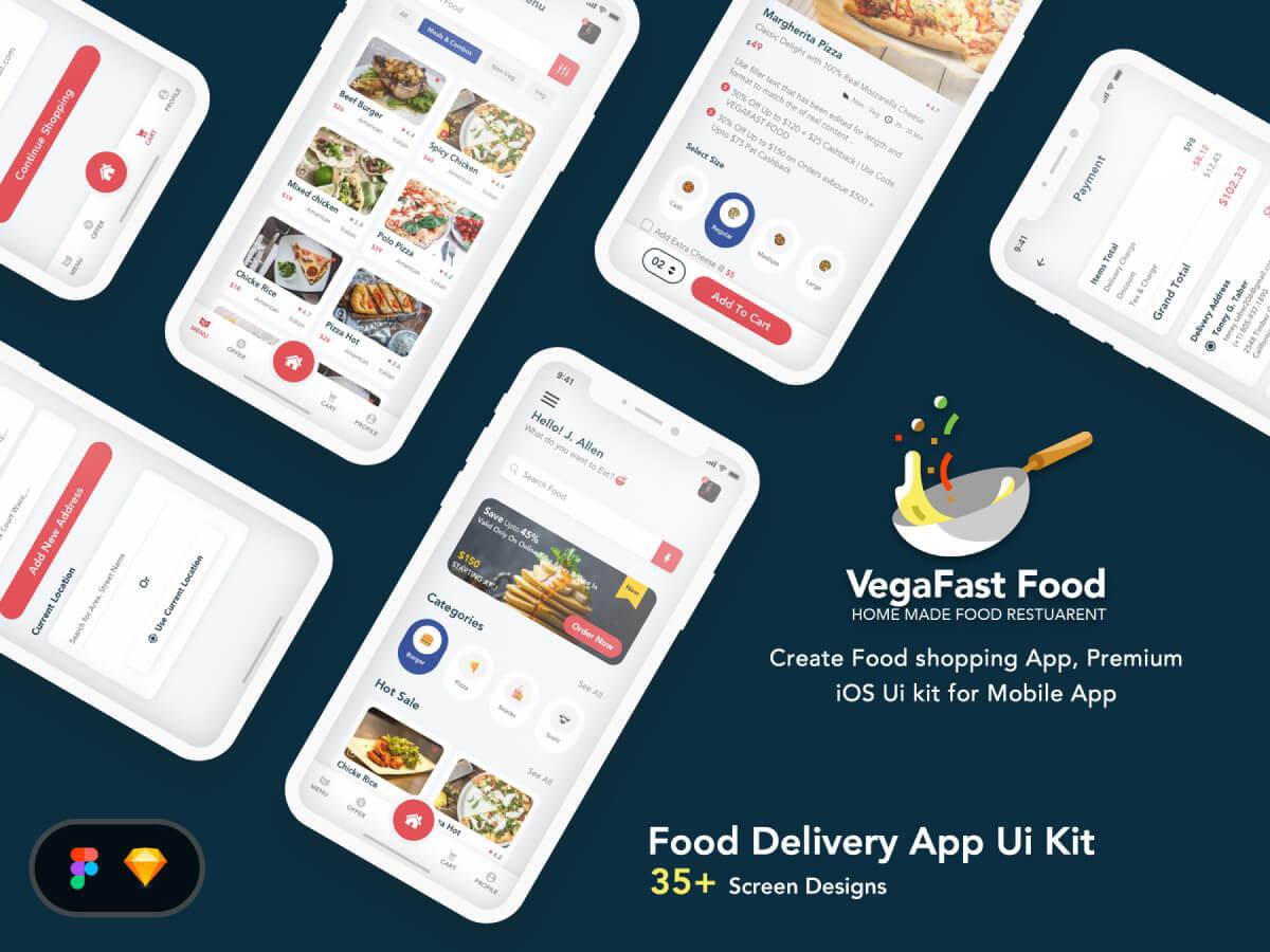 Food Delivery Mobile App UI - Sketch UI Kits