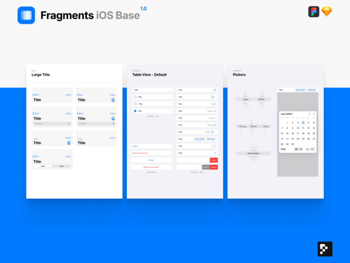 Fragments iOS Base for Sketch