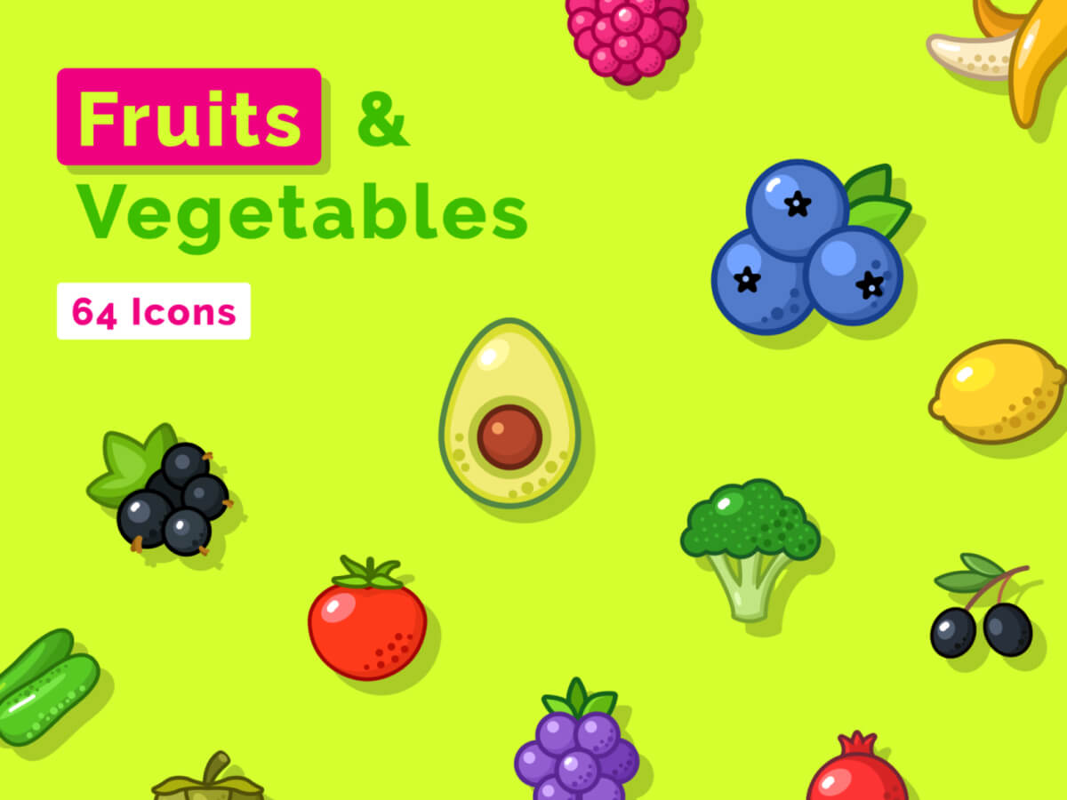 Fruits and Vegetables Sketch Icon Set