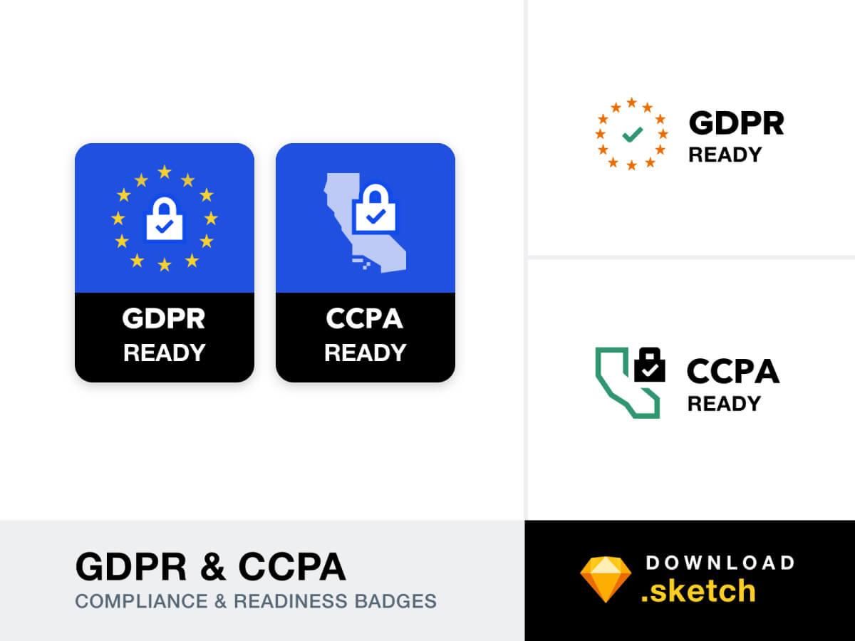GDPR & CCPA Badges - Sketch Illustrations