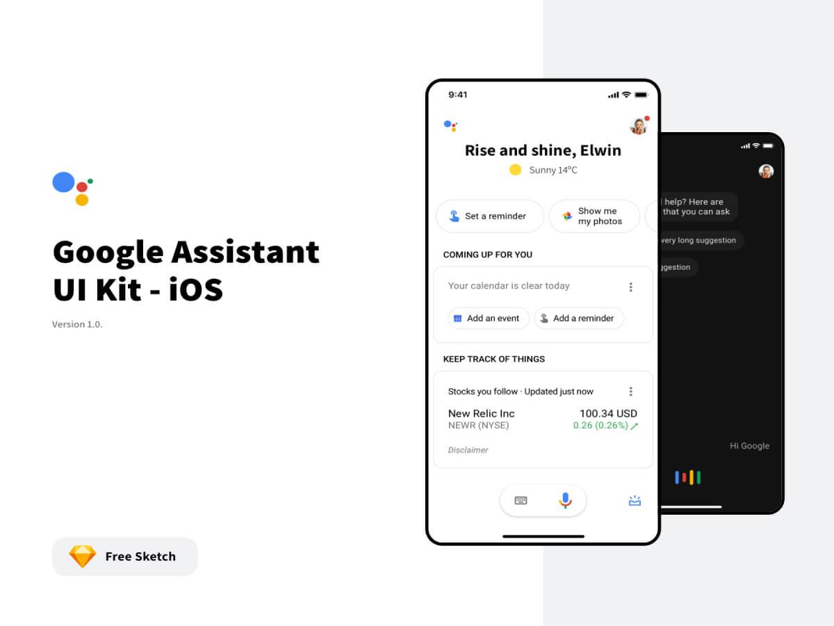 Google Assistant Sketch UI Kit