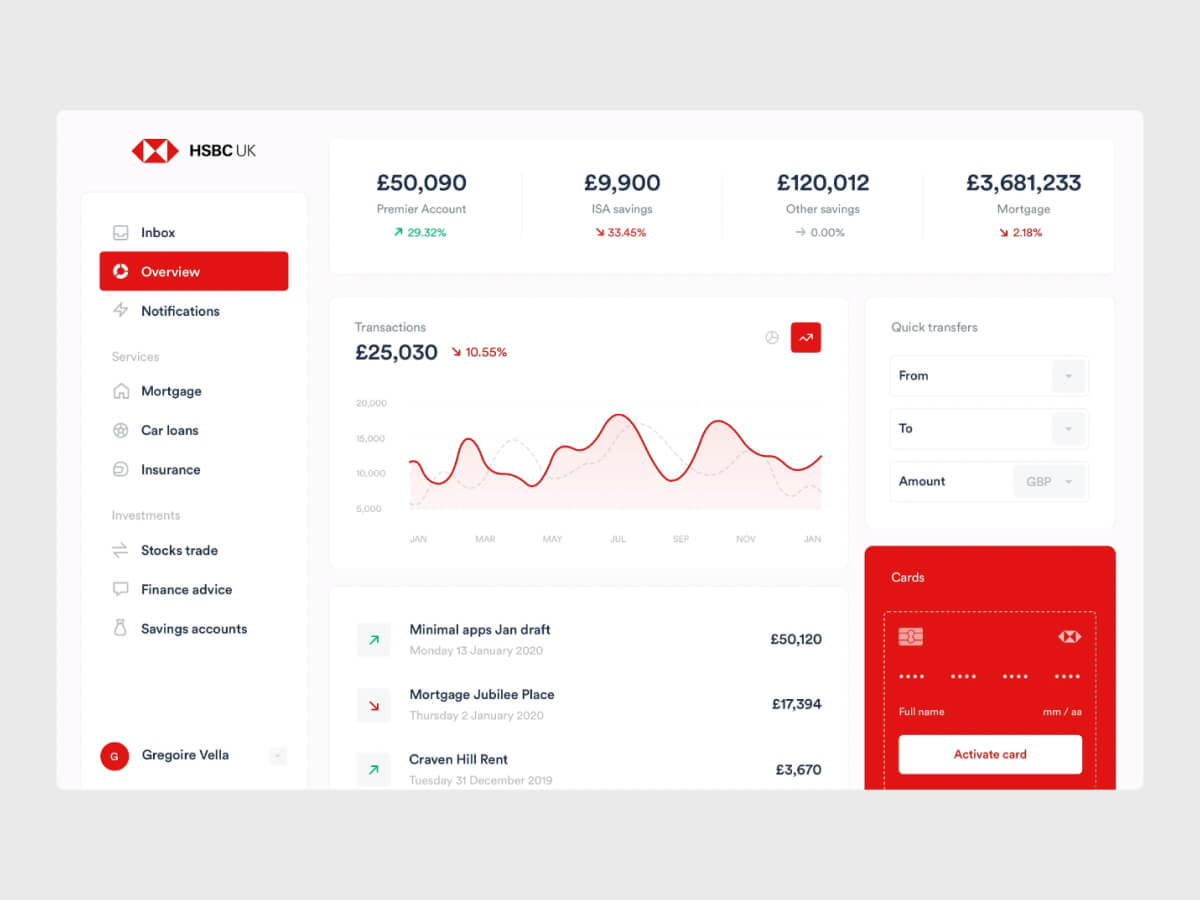 HSBC Account Screen for Sketch