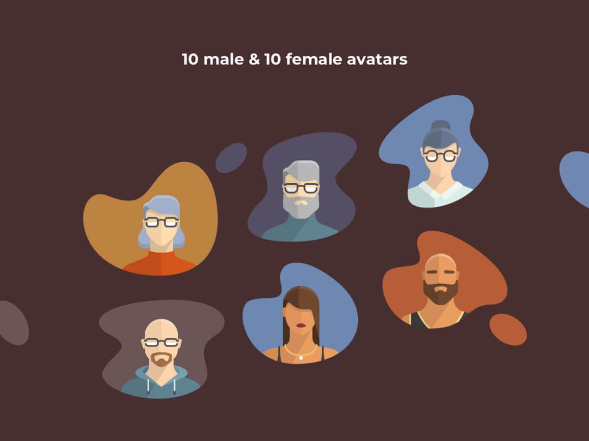 Male & Female Avatars for Sketch