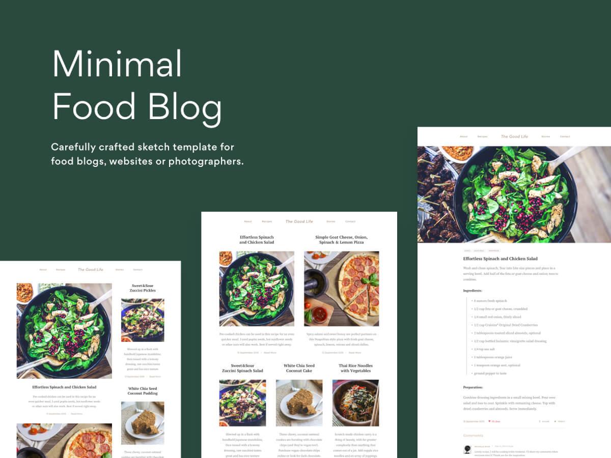 Minimal Food Website Sketch Template