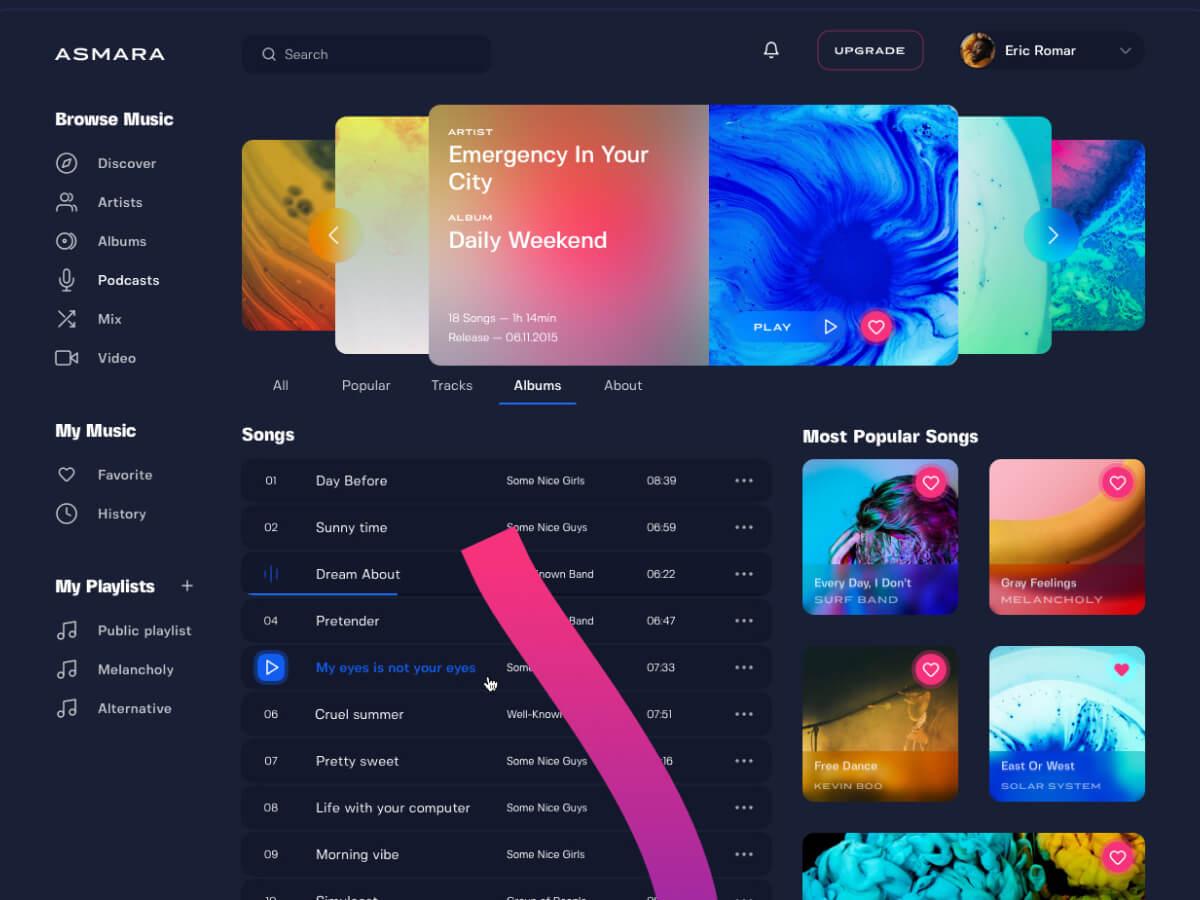 Music Platform Web Sketch UI Kit