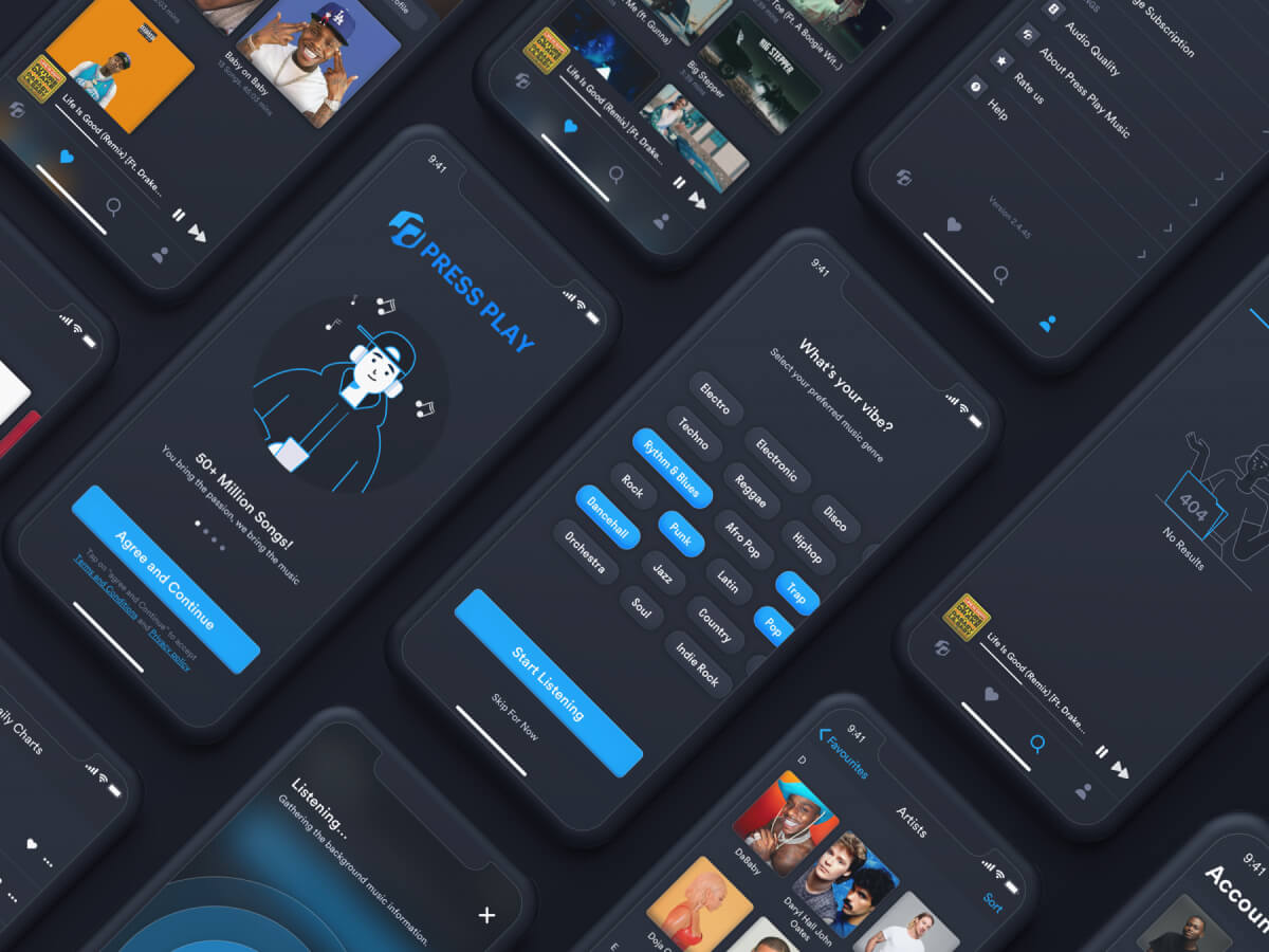Music Streaming App iOS UI Kit for Sketch
