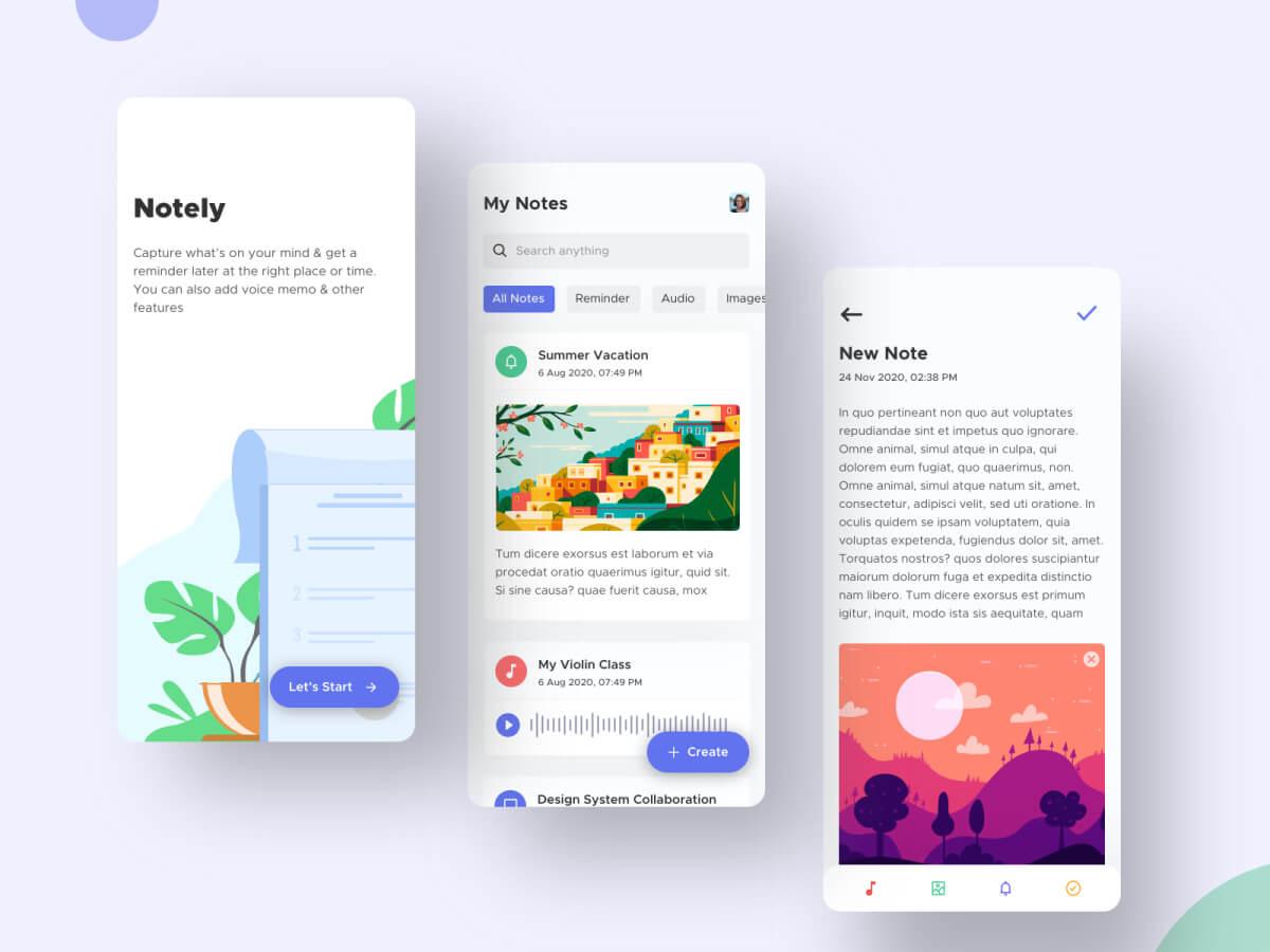 Note Taking App - Sketch UI Kits