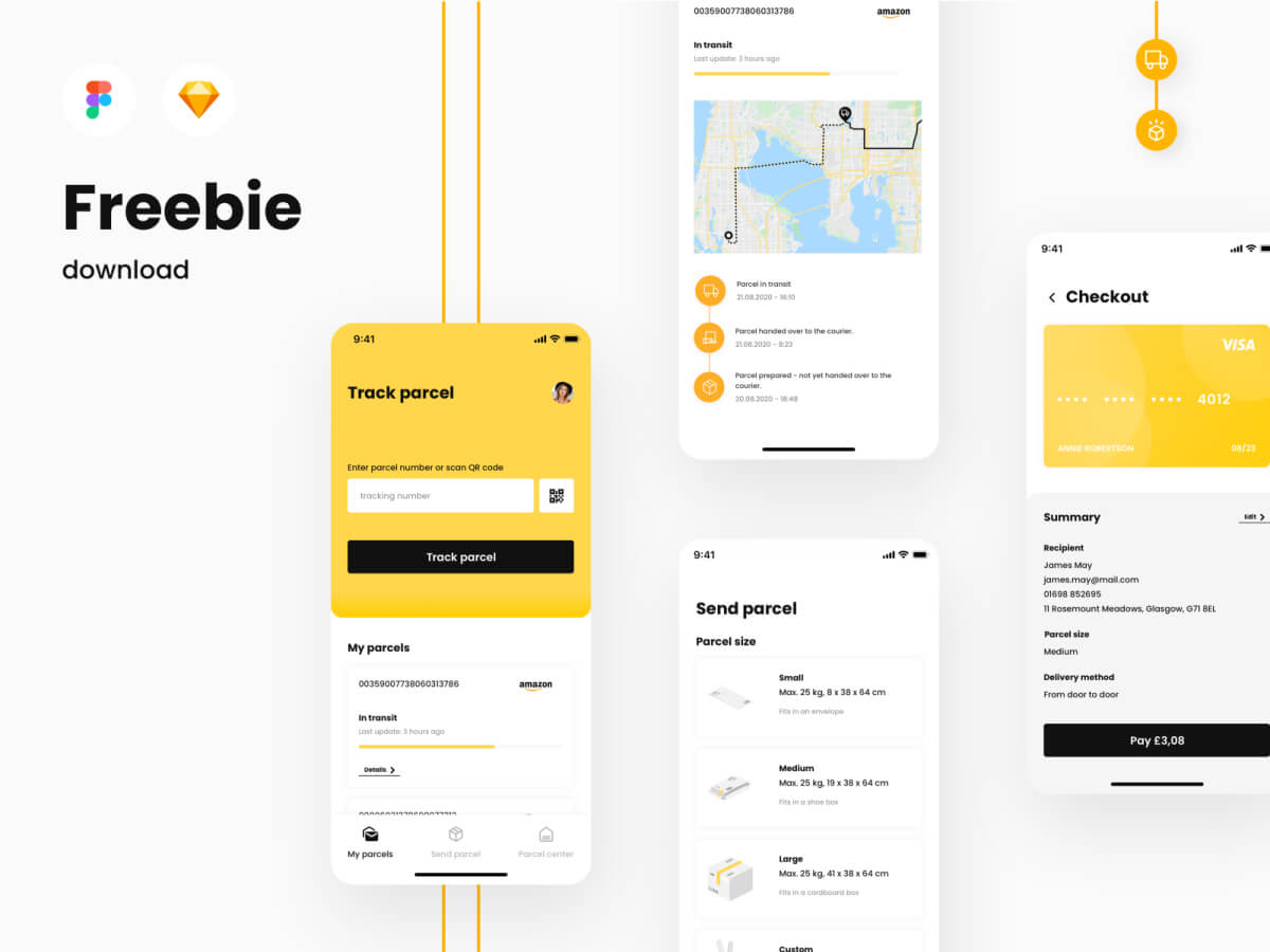 Parcel Delivery App - Sketch UI Kit