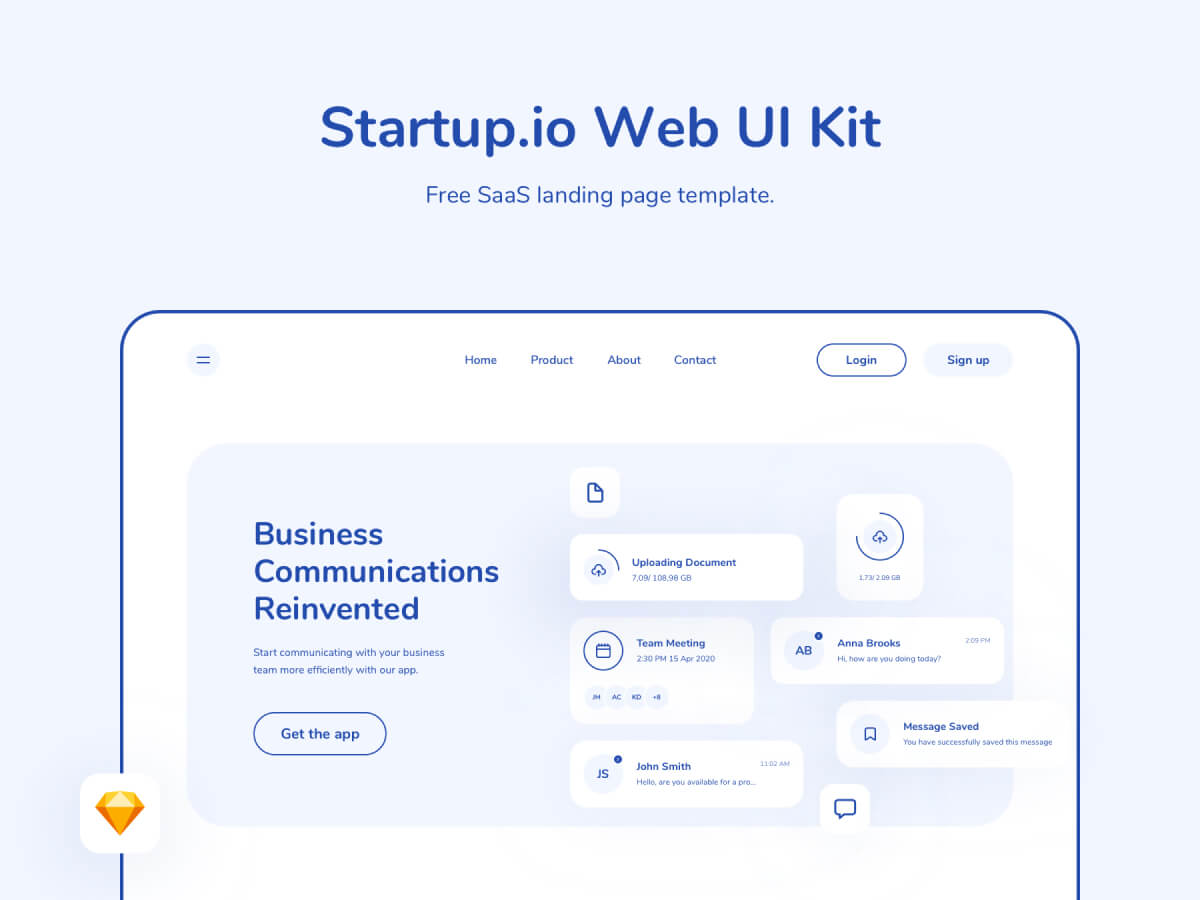 SaaS Web Landing Page Sketch UI Kit