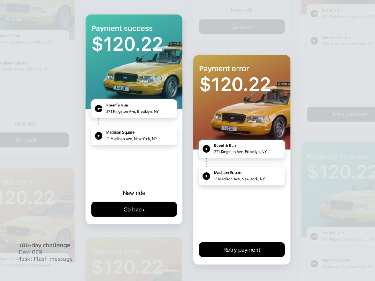 Taxi App Messages for Sketch