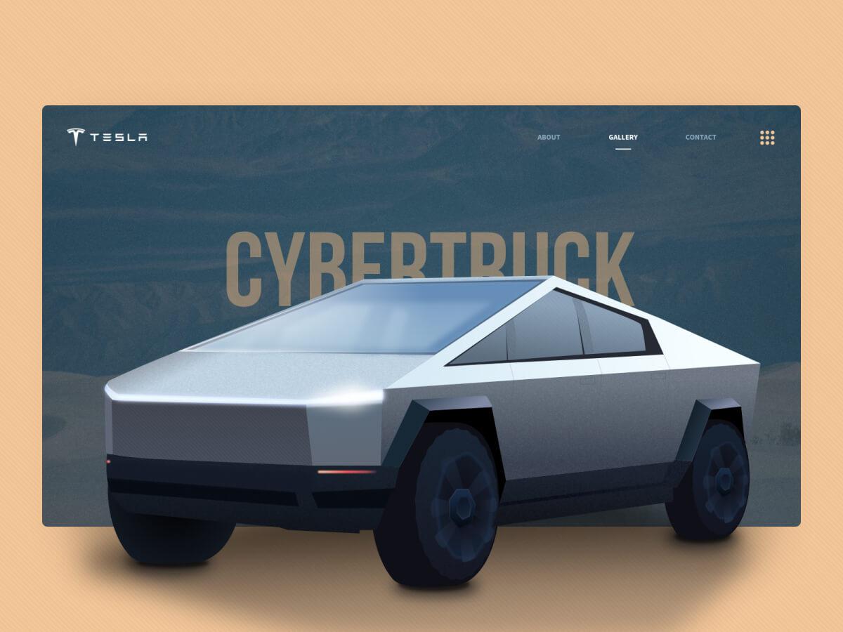 Tesla Cybertruck Illustration for Sketch
