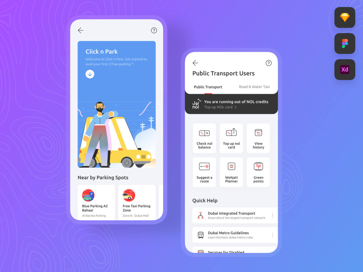 Transport and Parking App - Sketch UI Kit