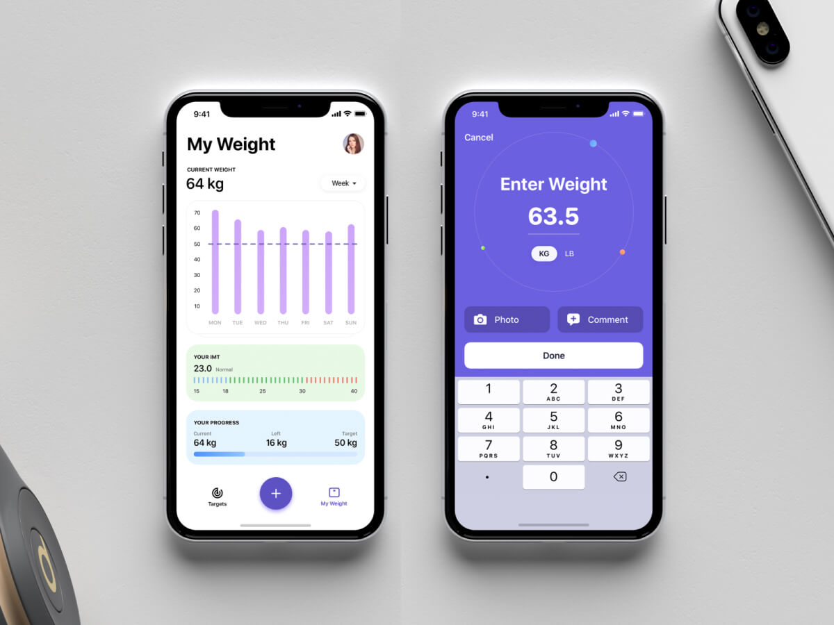 Weight Loss Tracker App Concept for Sketch