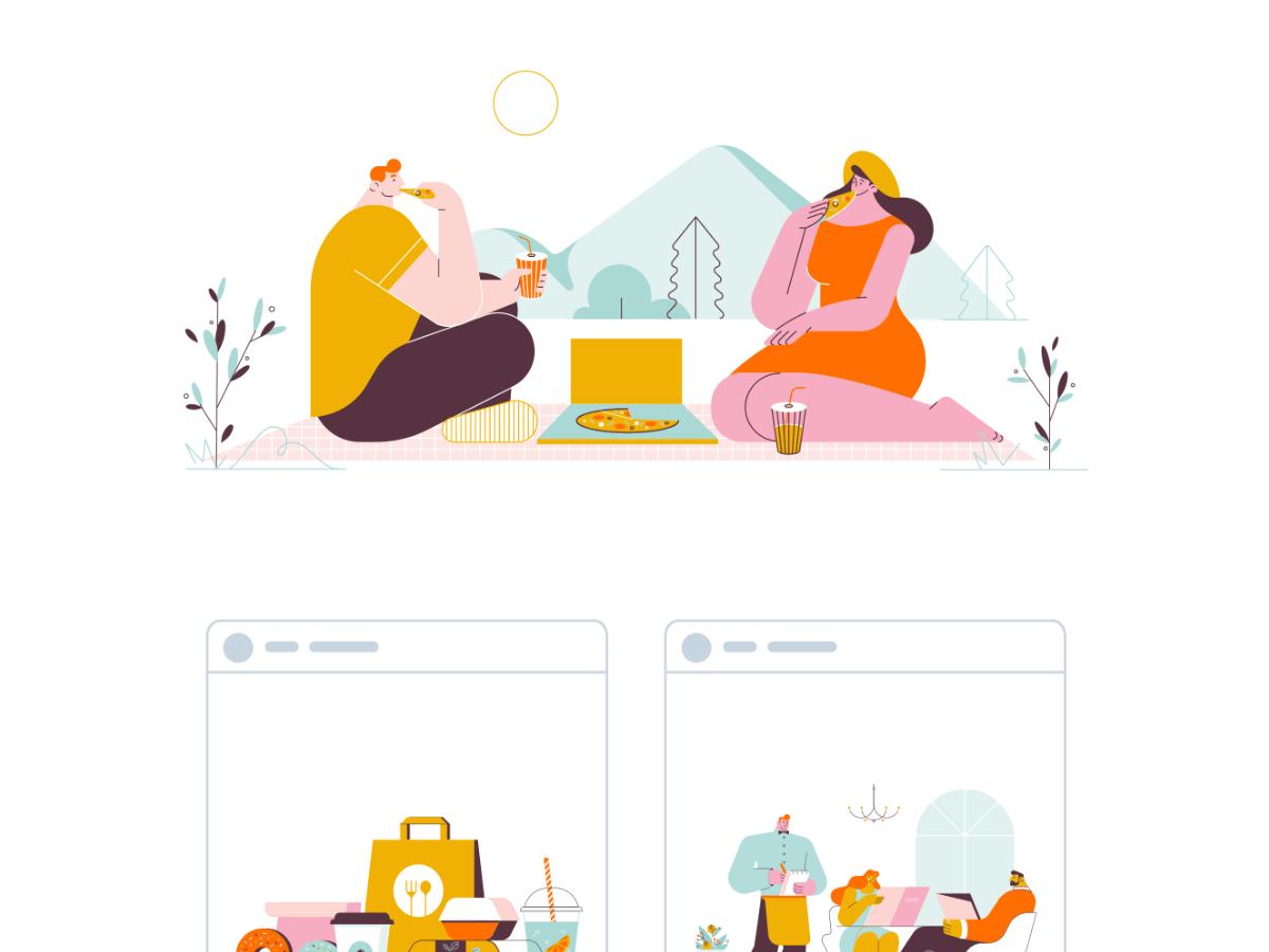 Restaurants and Dinner Illustrations