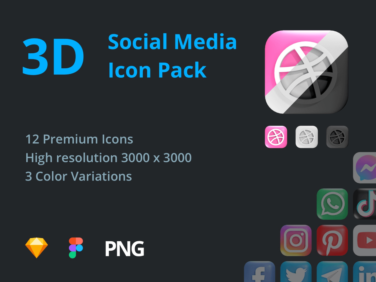 3D Social Media Sketch Icon Pack